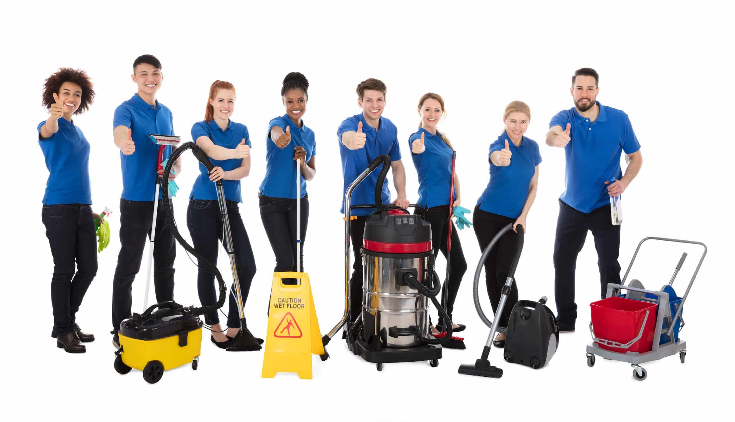 Glückliche Hausmeister und Reinigungskräfte